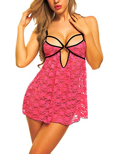 Avidlove Lingerie Lace Babydoll Dress 2 Pieces Set For Women Hollow Out Sleepwear