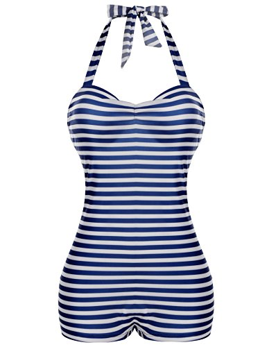 Avidlove Womens High Waisted Cup Padding Vintage Scoop-Back One Pieces Swimwear Bathing Suit
