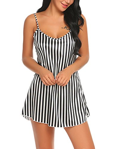 Avidlove Sexy Lingerie Stripe Sleepwear Stain Nightgown Women Sling Sleep Skirt Black