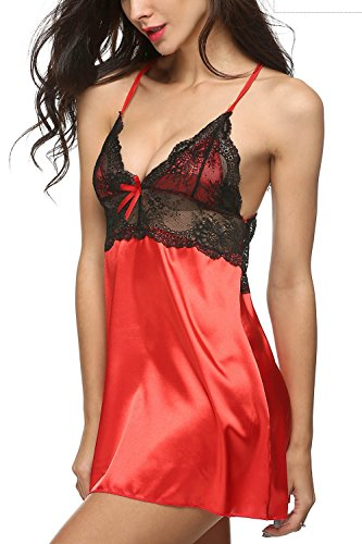 Avidlove Women Sexy Negligee Lingerie Lace Babydoll Satin Chemise