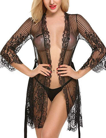 Avidlove Women's Sexy Floral Lace Lingerie Robe Sheer Kimono Babydoll Nightgown