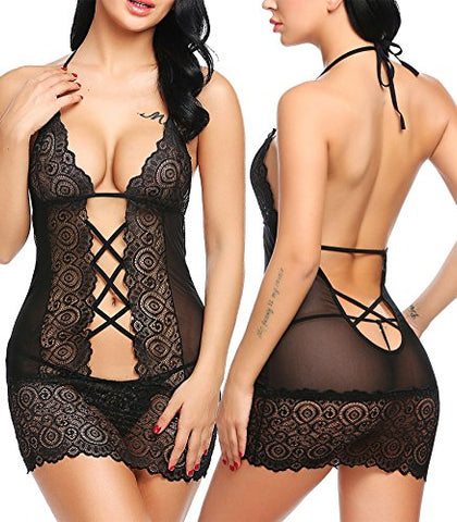 Avidlove Women Lace Babydoll Lingerie Halter Chemise Nightwear Teddy Mini Dress