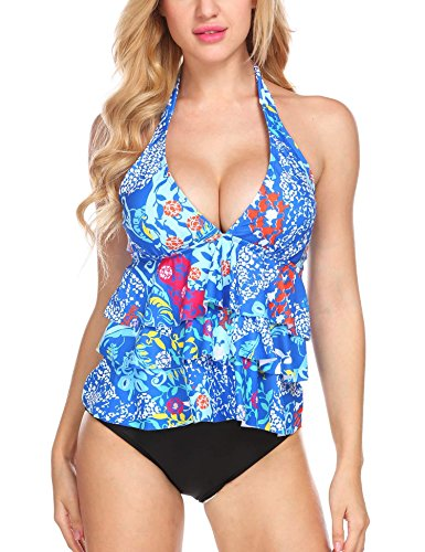 Avidlove Women Ruffle Halter Tankini Top and Skort Bottom Two Piece Tankini Sets Bathing Suits