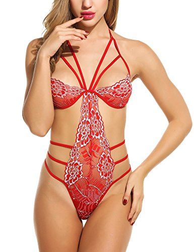 Avidlove Sexy Teddy Lingerie For Women One Piece Halter Lace Babydoll Bodysuit