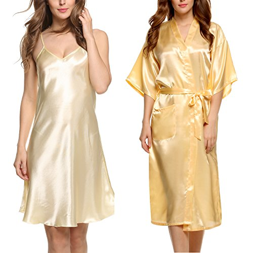 Avidlove Women's Silk Kimono Robe Long Stain Full Slip Nightgown Sleepwear