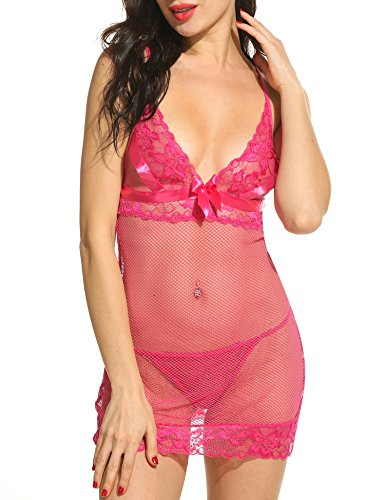 Avidlove Womens 2 Pieces Strap Lingerie Badydoll Mesh Stretch Chemise Dress