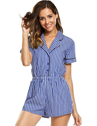 Avidlove Womens Short Sleeve Striped Tunic Jumpsuit Playsuits Casual Romper Sleepwear