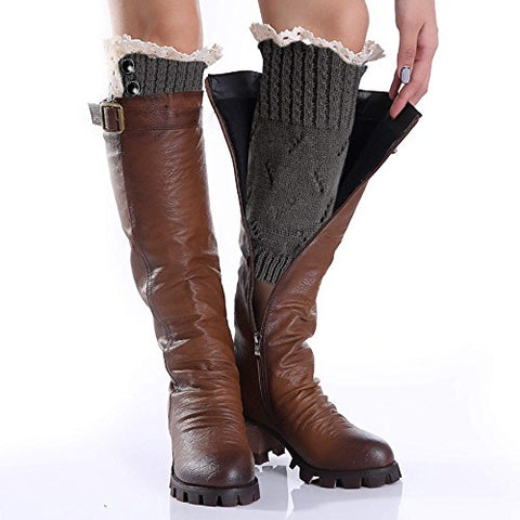 Avidlove Women Socks Button Lace Leg Warmers Knit Wool Boots Cuffs Short