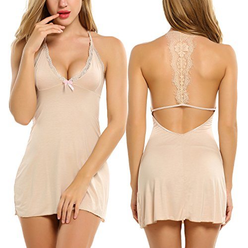 Avidlove Modal Sleepwear Womens Chemise Sexy Nighty Mini Full Slip Lace Babydoll