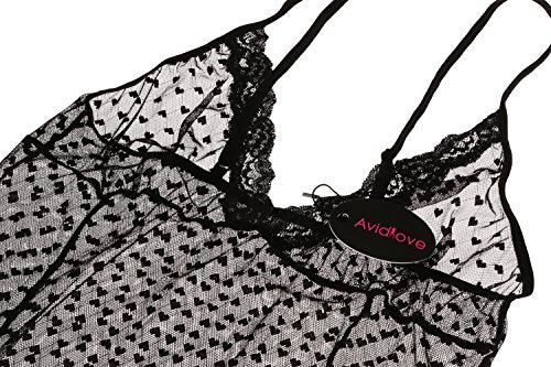 Avidlove Women Babydoll Lingerie Sheer Lace Chemise Polka Dot Pajama Nightwear Dress
