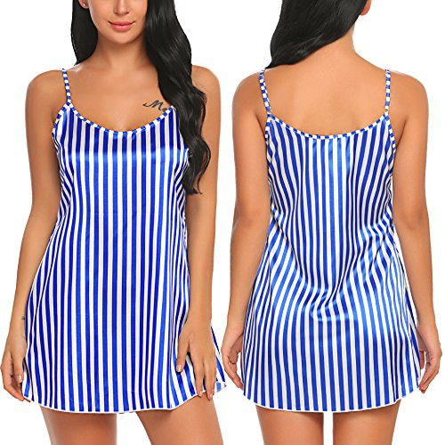 Avidlove Women Lingerie Stripe Sleepwear Stain Nightgown Women Sling Sleep Skirt
