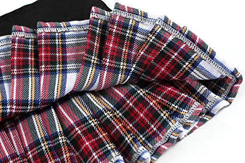 Avidlove Women Sexy Schoolgirl Lingerie Role Play Costume Plaid Pleated Skirt Red