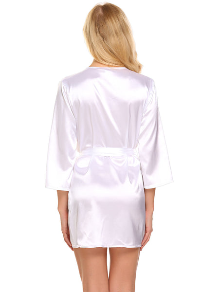 ADOME Women Short Satin Kimono Robe Lingerie Nightgown Sleepwear Silk Bathrobe Pure Color