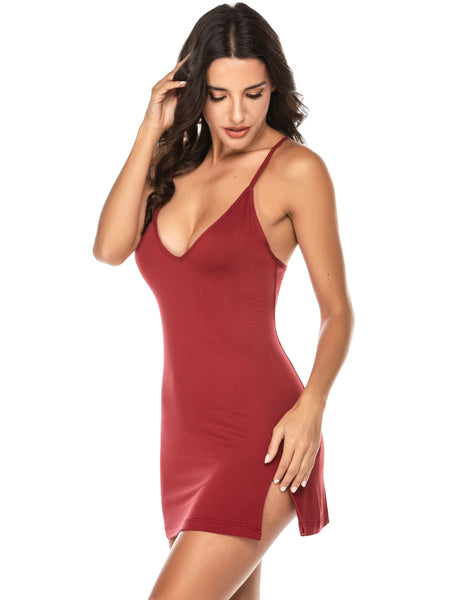 ADOME Sleepwear Sexy Nightgown Chemise Full Slip Strap Lounge Dress