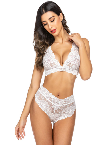 ADOME Lingerie for Women high Waist Sexy Bra and Panty Set Lace Babydoll Bodysuit 2 Piece Outfits