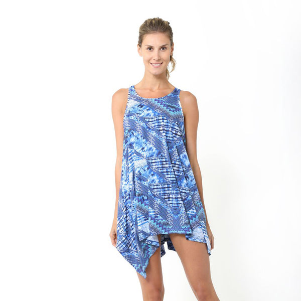 SUNSEEKER BEACH KAFTAN WATER COLOUR PRINT BLUE