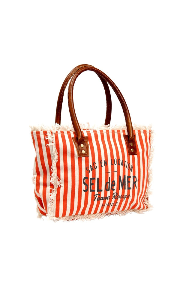 TERRE ROUGE ORANGE STRIPED BEACH BAG