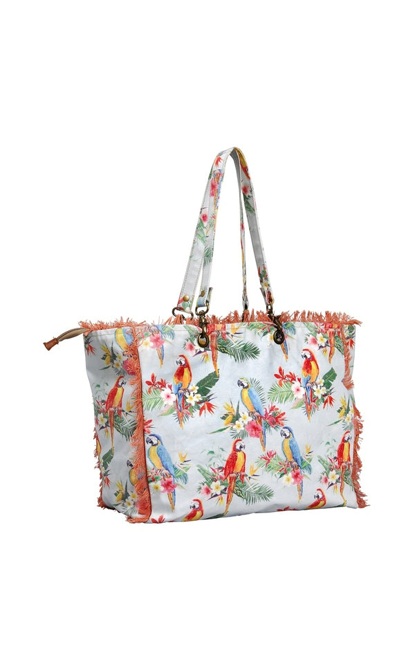 TERRE ROUGE VINTAGE SUMMER BAG PARROT DESIGN