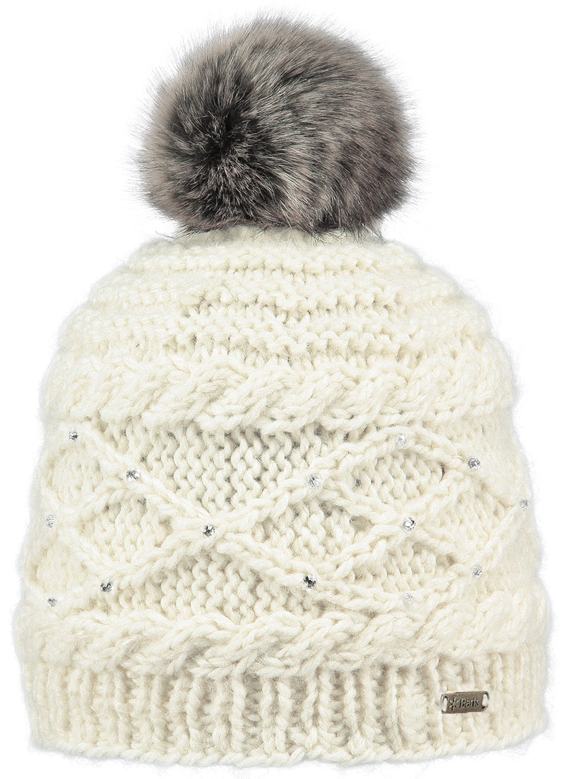 BARTS WOMENS BOBBLE HAT WITH RHINESTONE DECORATION AND