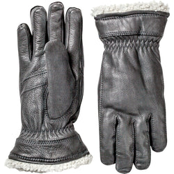 HESTRA WOMENS BLACK LEATHER GLOVE