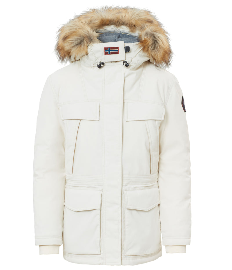 NAPAPIJRI WOMENS SKIDOO COAT WITH FAUX FUR TRIM