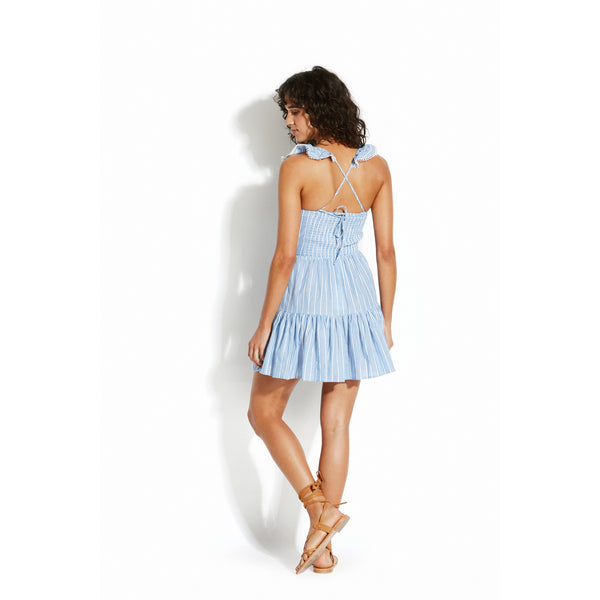 SEAFOLLY COTTON DRESS WITH RUFFLE NECKLINE