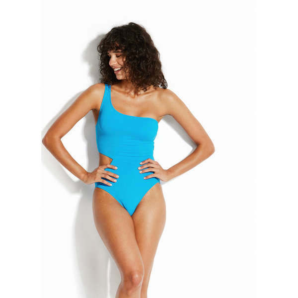 SEAFOLLY ONE SHOULDER SWIMSUIT ELECTRIC BLUE