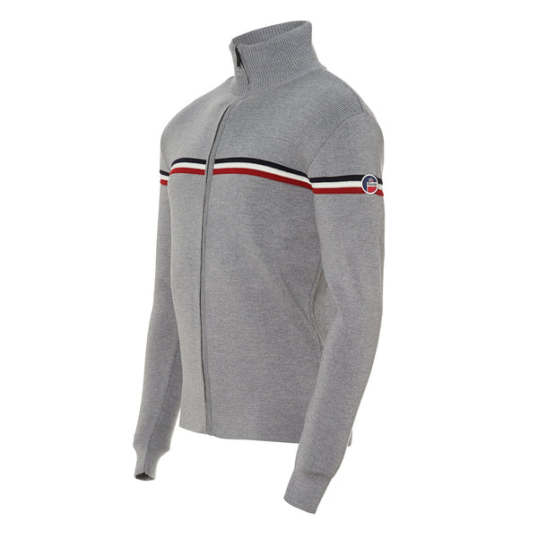 FUSALP MENS WENGEN FULL ZIP SWEATER IN SILICE