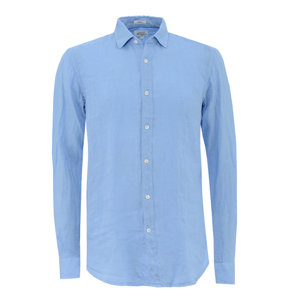 HARTFORD MENS BLUE LINEN SHIRT