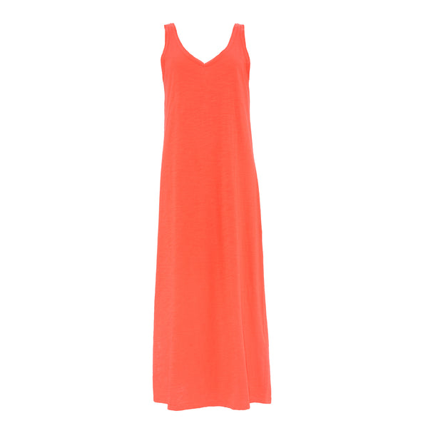 YERSE COTTON MAXI DRESS CORAL