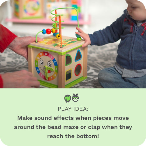 PLAY IDEA: Make sound effects when pieces move around the bead maze or clap when they reach the bottom!