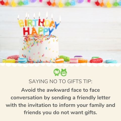 saying no to gifts tip