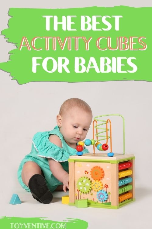 wooden activity cube for babies