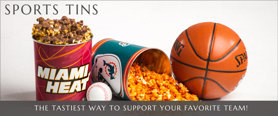Gourmet Popcorn Sports Tins | Gourmet Popcorn in Fort Lauderdale and Pembroke Pines, Florida