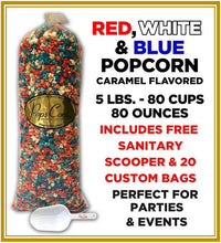 Load image into Gallery viewer, Red, White, Blue Pops Bulk Popcorn Bags. Made fresh to order! ?✔ Pops Corn