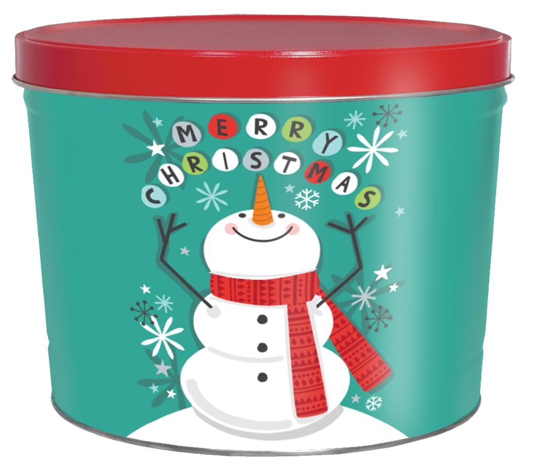 2 Gallon Cheery Snowman Father's Day Tins vendor-unknown