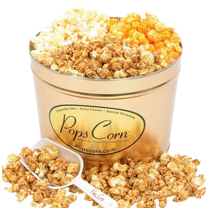 2 Gallon Gold-3 FLAVORS! Signature Tins Pops Corn
