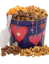Load image into Gallery viewer, Two Gallon Hearts Valentine's Day Tins Pops Corn