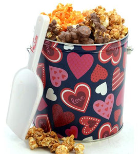 1 Gallon Hearts Tin Valentine's Day Tins Pops Corn Default Title