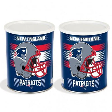New England Patriots One Gallon Sports Popcorn Tin Pops Corn