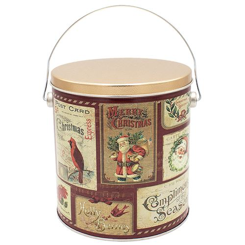 1 Gallon Vintage Postcards Holiday Tin Pops Corn