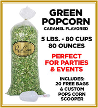 Load image into Gallery viewer, Green Popcorn ✔🍏 Pops Bulk Popcorn Bags. Made fresh to order! ?✔ Pops Corn