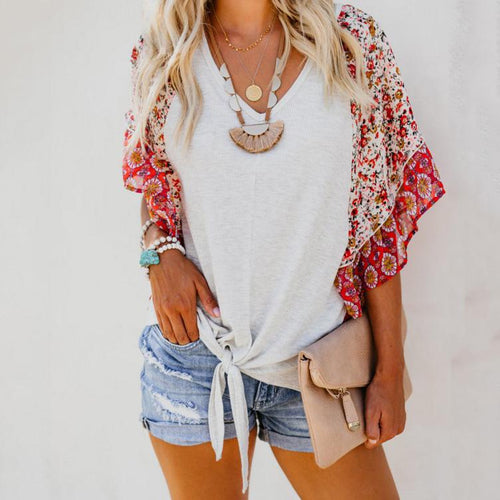 Fashion Casual Baggy Short Sleeved Printed Top T-Shirt