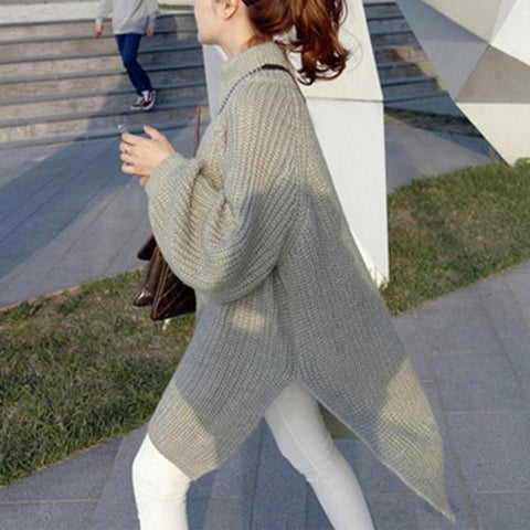 Casual High Collar   Solid Color Pullover Long Sweater