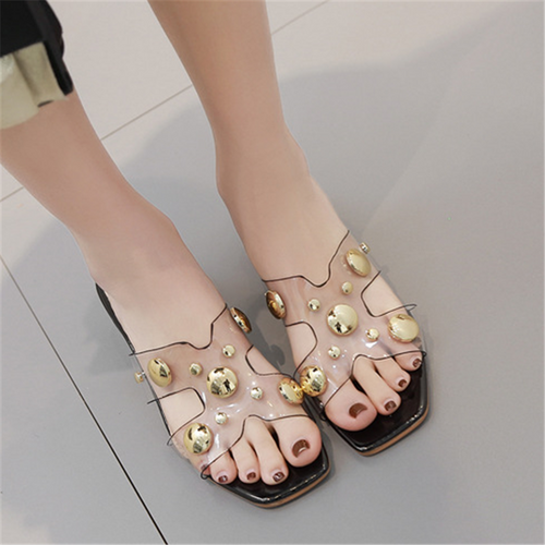 Thick and transparent fashion word slippers