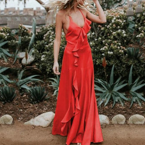 Sexy Sling Backless Flouncing Maxi Dress