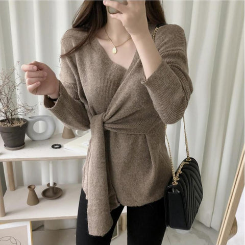 Casual Simple High Waistlace Up  V Neck Slim Long Sleeve Knitted Sweater