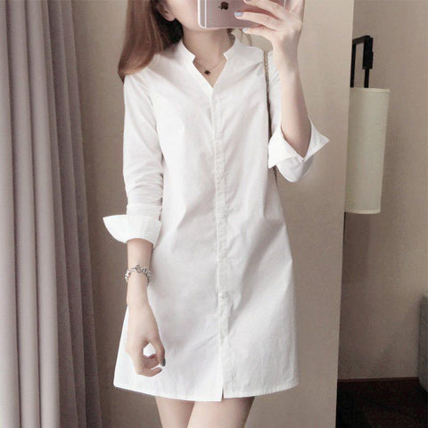 Button Down Collar  Single Breasted  Plain Shift Dress