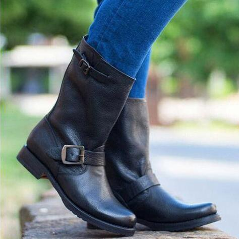 Punk Wild Style Autumn And Winter Low Heel Women's Boots