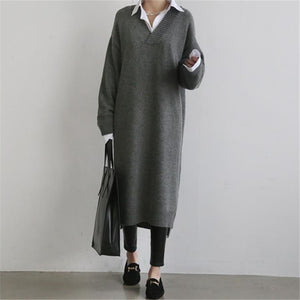 Fashion Simple Loose Long Sleeves Knitted Sweater Shown Thin Maxi Dress ea5594ce52ac